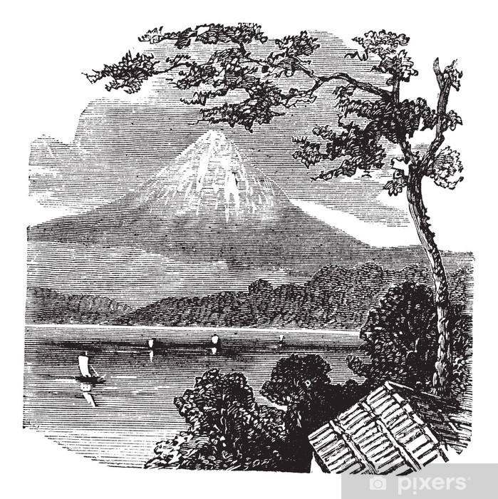 Poster Mount Fuji in Japan vintage engraving - Asien