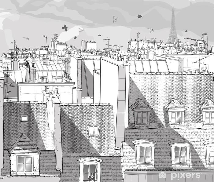 Papier peint vinyle France - les toits de Paris - Thèmes