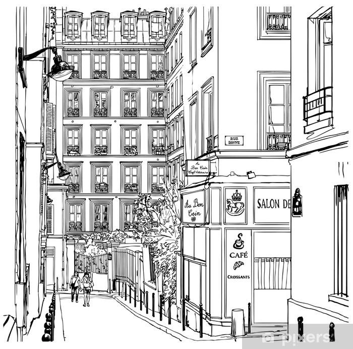 street near Montmartre in Paris Vinyl Wall Mural - Cafe