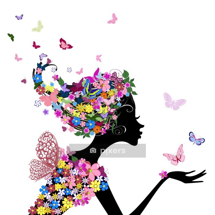 girl with flowers and butterflies Wall Decal - Fashion
