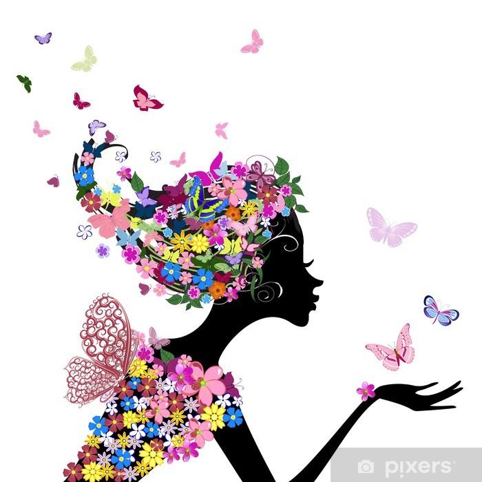 Pixerstick Sticker Meisje met bloemen en vlinders - Mode