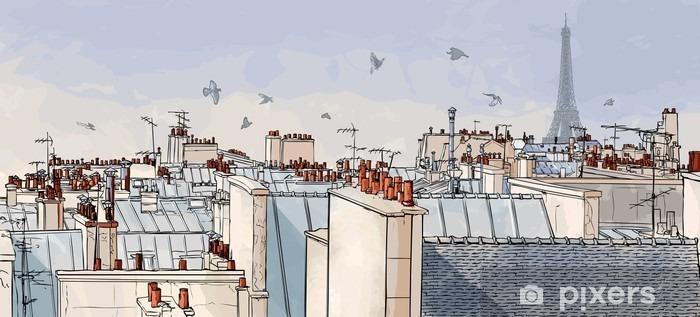 Sticker pour vitres et fenêtres France - les toits de Paris -
