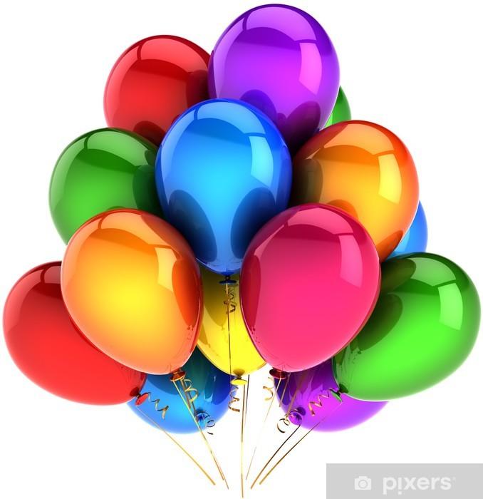 Vinyl Fotobehang Ballonnen verjaardagsfeestje versiering veelkleurige als regenboog - Viering