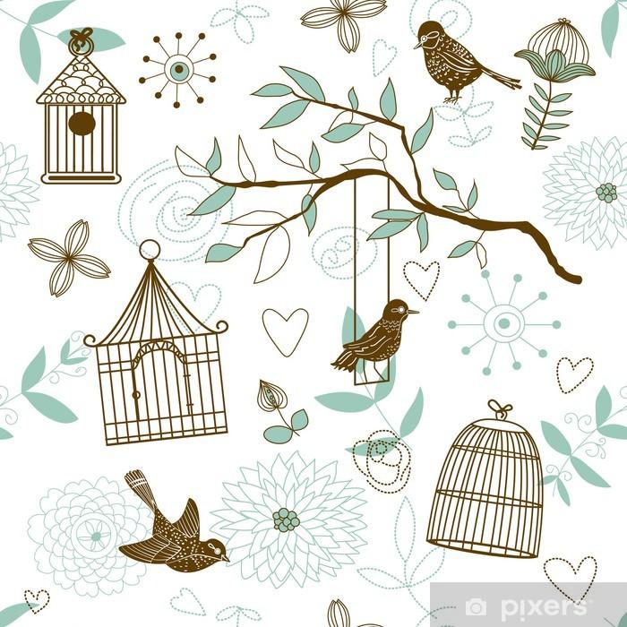 Poster Patron de la nature avec les oiseaux. Vecteur transparente. -