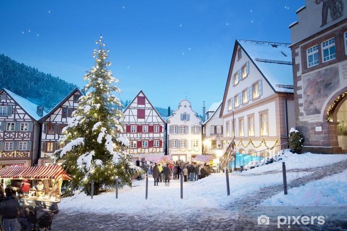Papier peint vinyle Schiltach marché de Noël avec l'arbre de Noël - Fêtes internationales
