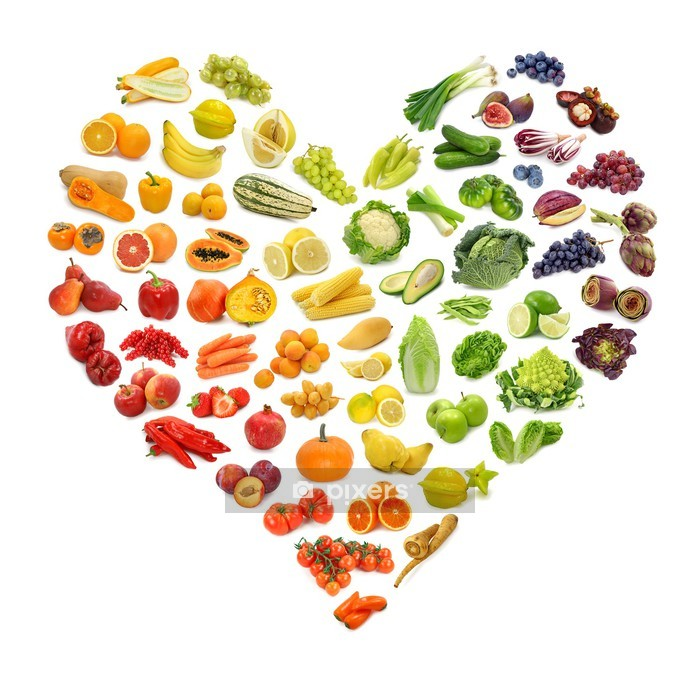 Veggklistremerke Rainbow hjerte av frukt og grønnsaker - Veggklistremerke