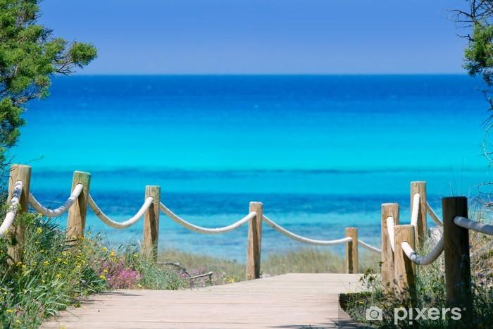 Fototapeta winylowa Illetas Formentera turkusowy wyspa Illetes beachn - Tematy