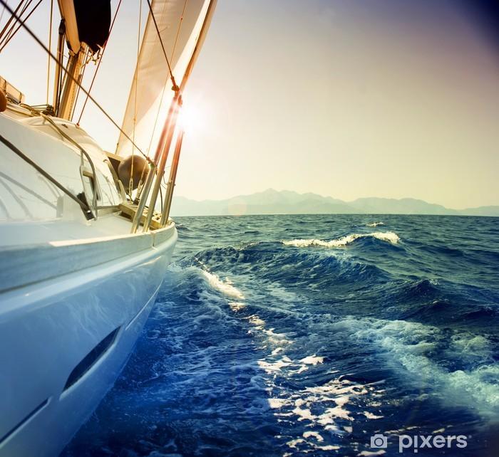 Yacht Sailing against sunset.Sailboat.Sepia toned Vinyl Wall Mural - Nature