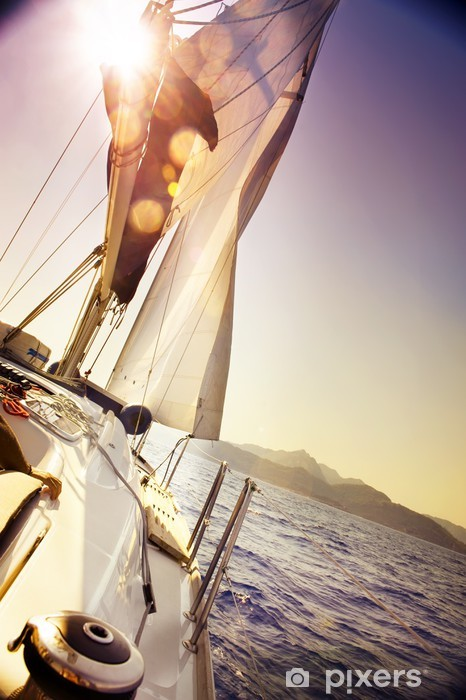 Yacht Sailing against sunset.Sailboat.Sepia toned Pixerstick Sticker - Boats