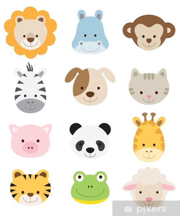 Pixerstick Sticker Baby Animal Faces Set -