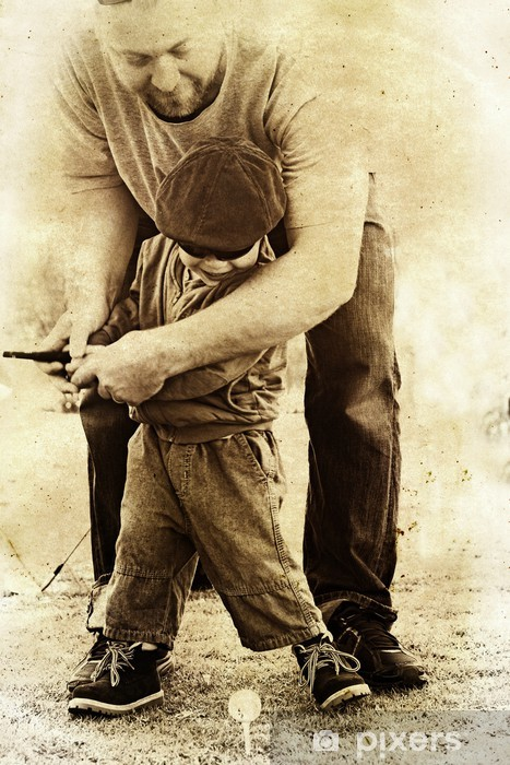 Pixerstick Dekor Far och son spela golf - Teman