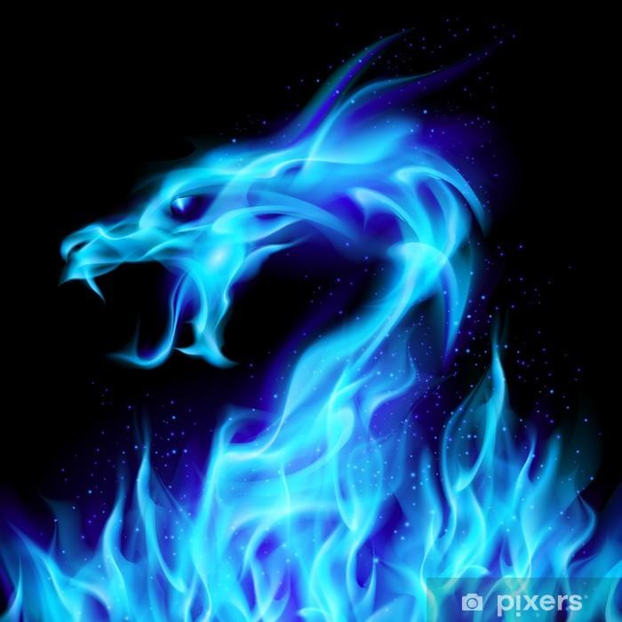 Papier peint vinyle Blue fire dragon - Styles