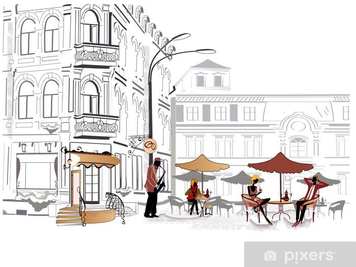 Fotomural Estándar Series de café de la calle en los bocetos - Europa