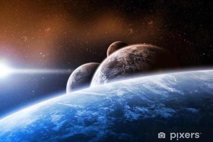 Fototapeta winylowa Projektowanie przestrzeni z planet i Wschód - Ziemia