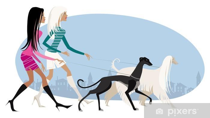 Walking dogs Pixerstick Sticker - Women