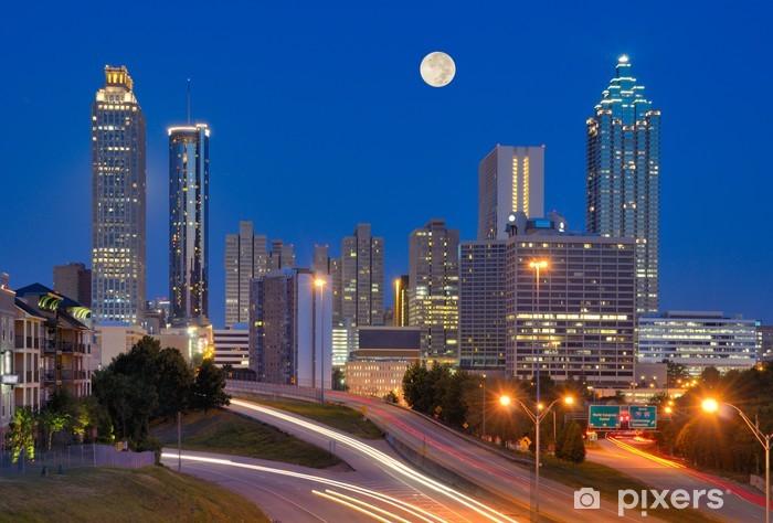 Vinilo Pixerstick Horizonte de Atlanta bajo la Luna Llena - América