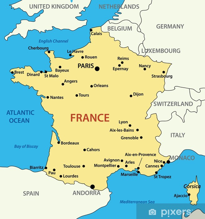 Fotobehang Kaart Van Frankrijk Vector Illustratie Pixers We