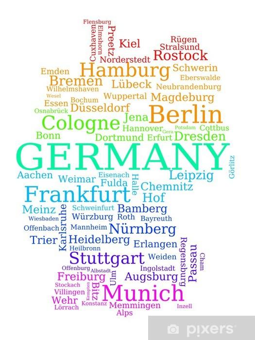 Fotobehang Duitsland Kaart Gemaakt Van Plaatsnamen Pixers We