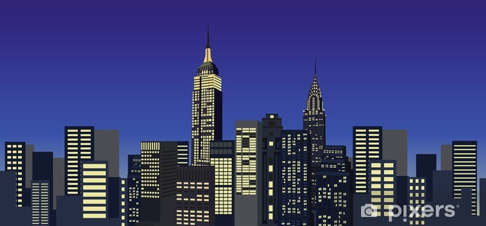 New York Skyscrapers Pixerstick Sticker - American Cities