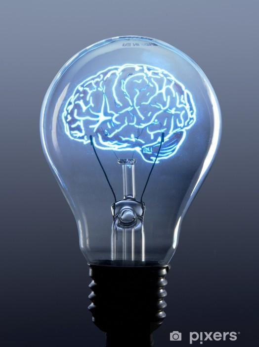 Fototapeta winylowa Żarówka i mózg - Elektryczność