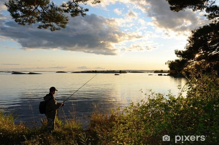 Pixerstick Sticker Avond vissen in de zee - Buitensport