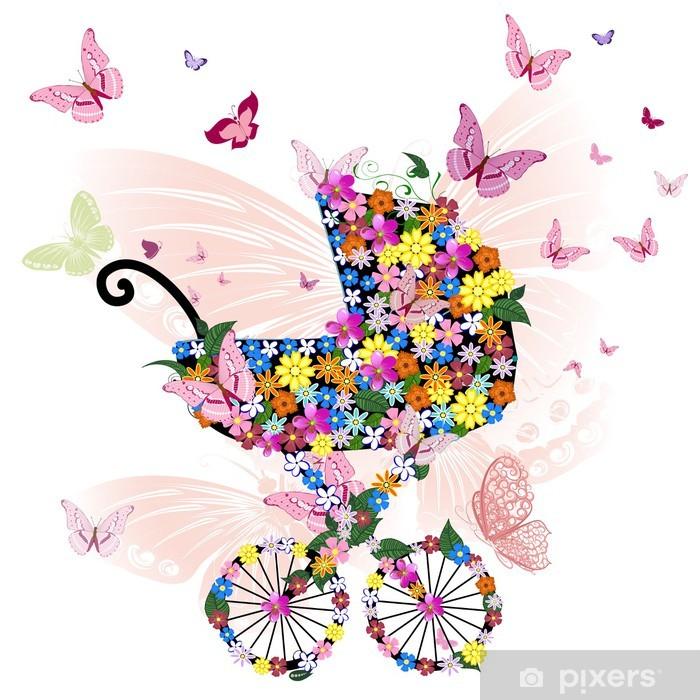 Plakat Wózek z kwiatów i motyli - Kwiaty