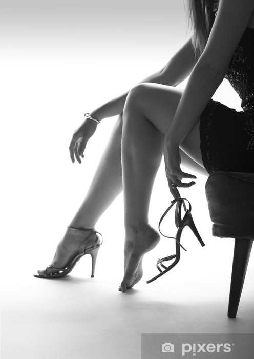 Sexy woman legs and high heels, white background Vinyl Wall Mural - Themes