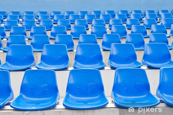 Nálepka Pixerstick Plastové modré sedačky na stadionu v Thajsku - Prázdniny