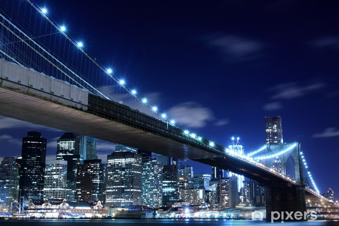 Brooklyn Bridge and Manhattan Skyline At Night, New York City Pixerstick Sticker - Themes