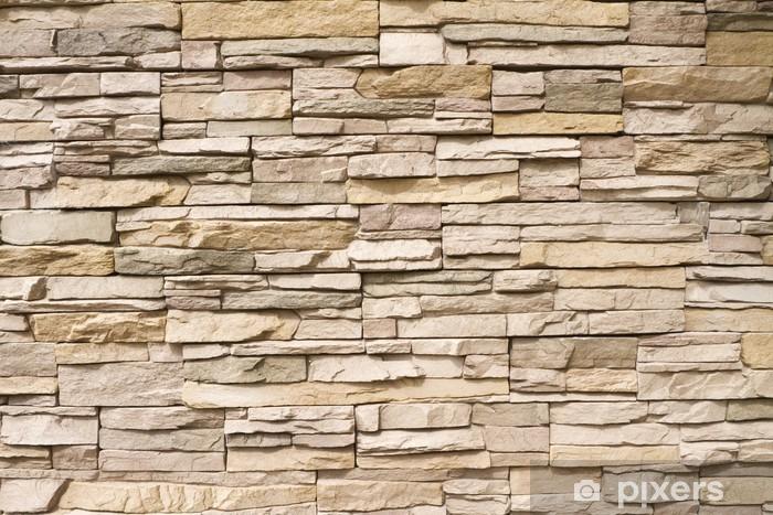 Stacked stone wall background horizontal Pixerstick Sticker -