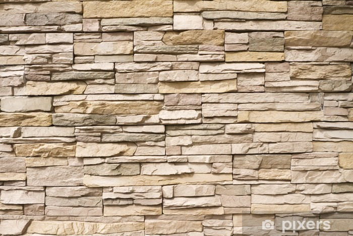 Stacked stone wall background horizontal Vinyl Wall Mural -
