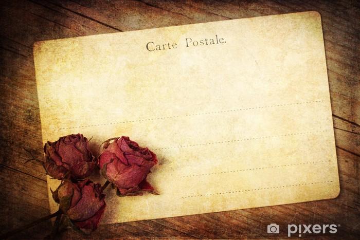 Sticker Pixerstick Rosen antike Postkarte mit - Arrière plans