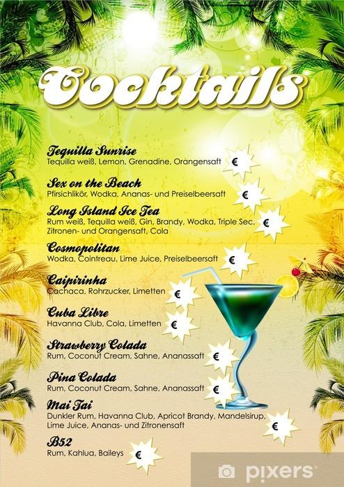 Cocktailkarte Selbst Gestalten.Fototapete Cocktailkarte Vorlage