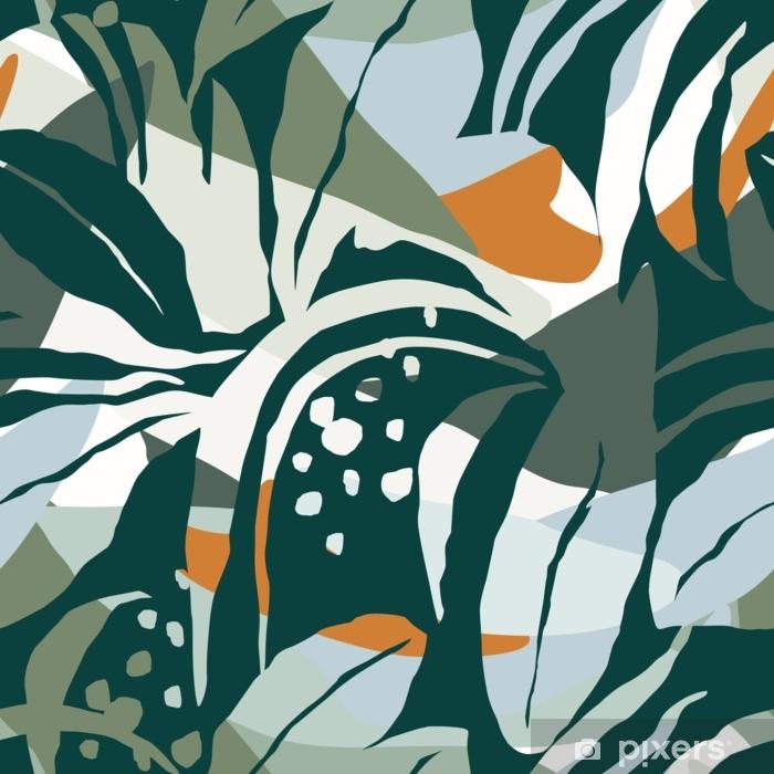 Naklejka Pixerstick Artystyczny bezszwowy wzór z abstrakcjonistycznymi liśćmi. nowoczesny design - Hobby i rozrywka