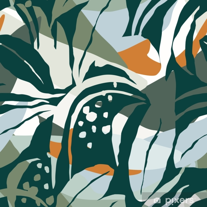Artistic seamless pattern with abstract leaves. Modern design Pixerstick Sticker - Hobbies and Leisure
