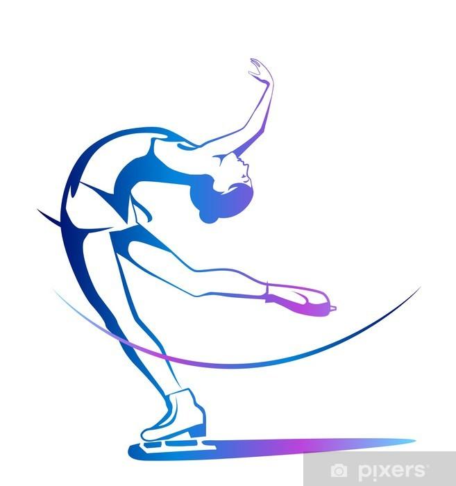 Zelfklevend Fotobehang Wintersport. Dames kunstschaatsen. Ijsshow. - Individuele sport