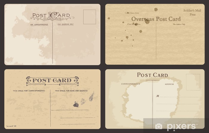 Fotomural Estándar Conjunto de tarjetas postales antiguas en vector - Texturas