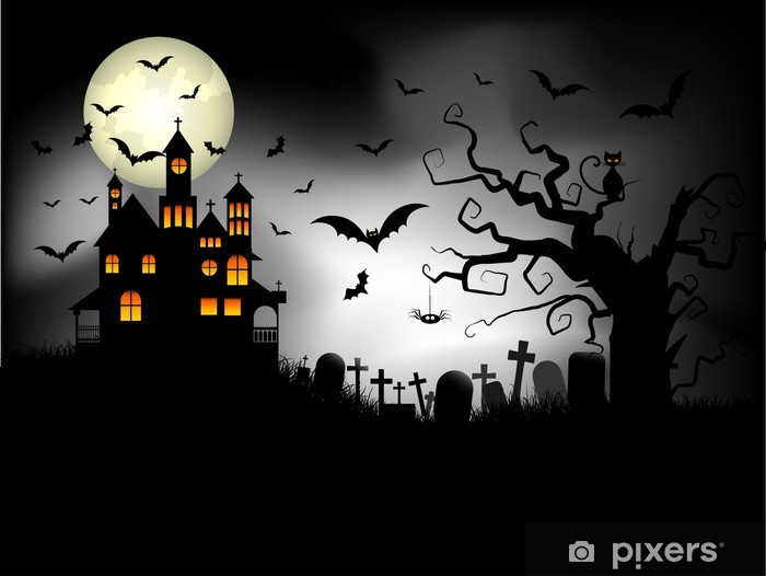 Sticker Pixerstick Spooky Halloween Background - Fêtes internationales