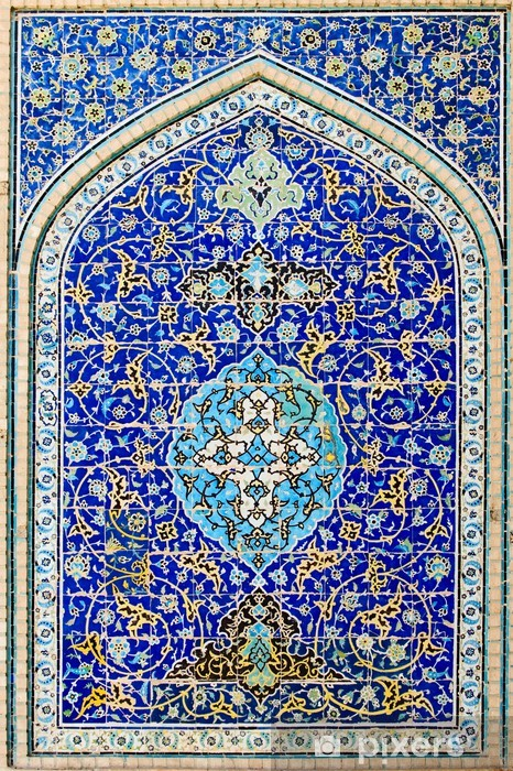 tiled background, oriental ornaments from Isfahan Mosque, Iran Vinyl Wall Mural - Abstraction