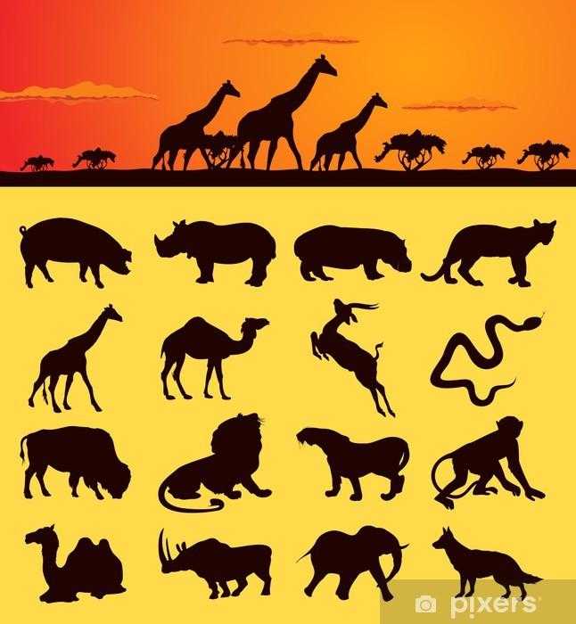 Vinylová fototapeta Sada siluety zvířat z Afriky - Vinylová fototapeta