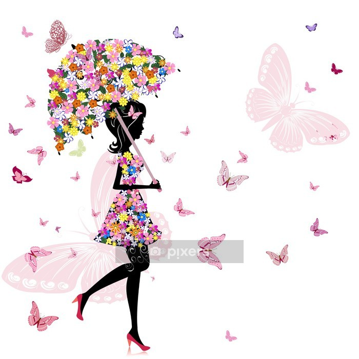 flower girl with umbrella Wall Decal - Styles