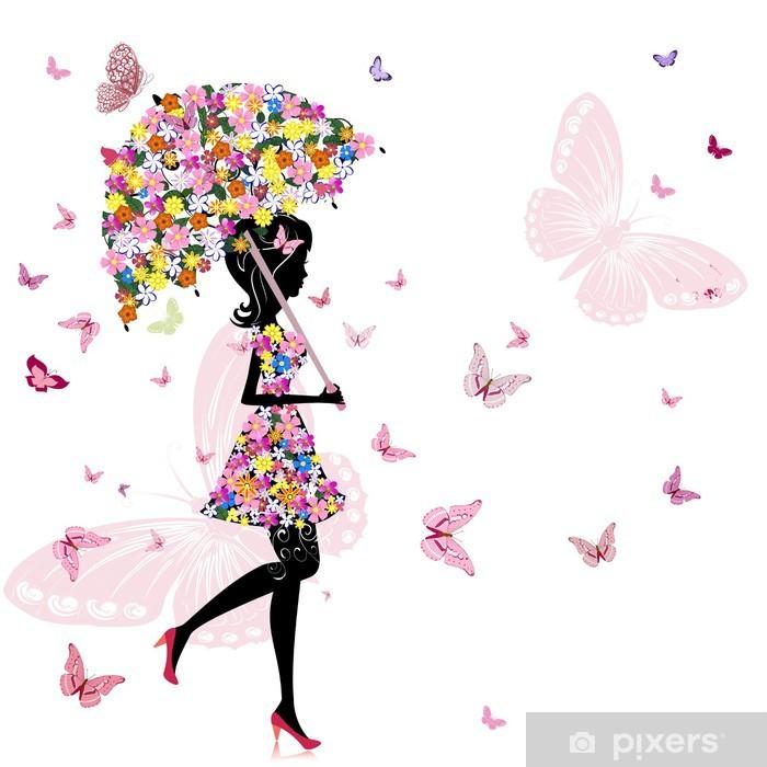 Naklejka Pixerstick Dziewczyna kwiat z parasolem - Style