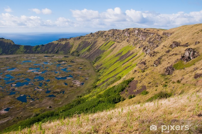 Naklejka Pixerstick Rano Kau wulkan, Wyspa Wielkanocna (Chile) - Ameryka