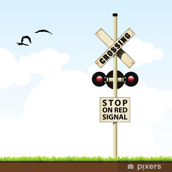 Sticker Pixerstick Croisement de chemin de fer - Signes et symboles