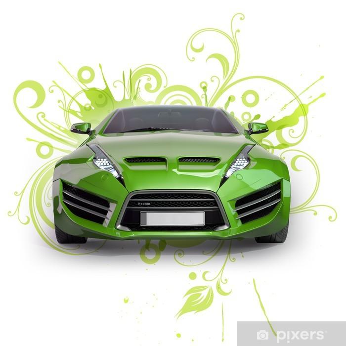 Vinyl-Fototapete Grün Hybrid-Auto auf einem abstrakten Blumenhintergrund. Nicht-Marken Co - Straßenverkehr