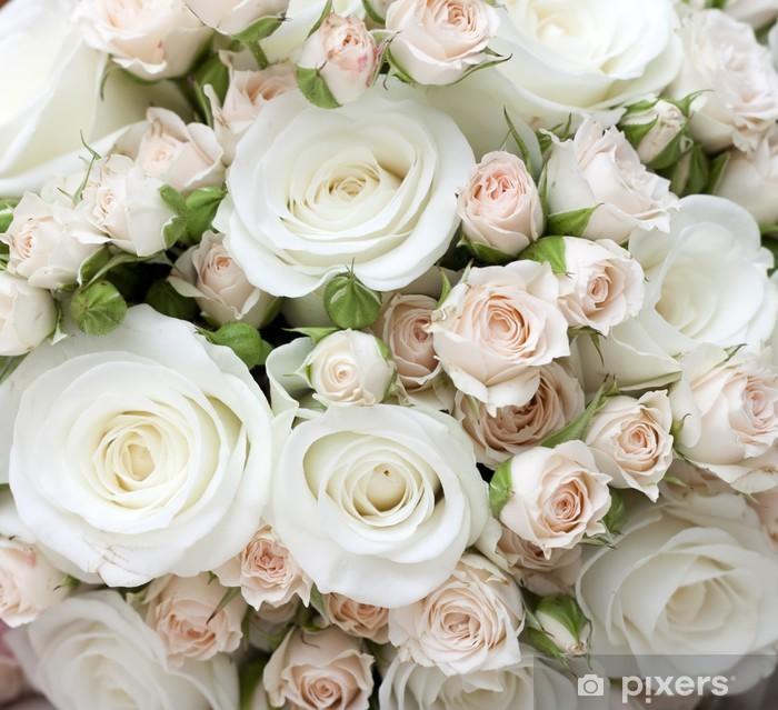Naklejka Pixerstick Bukiet ślubny z białych róż pinkand - Tematy