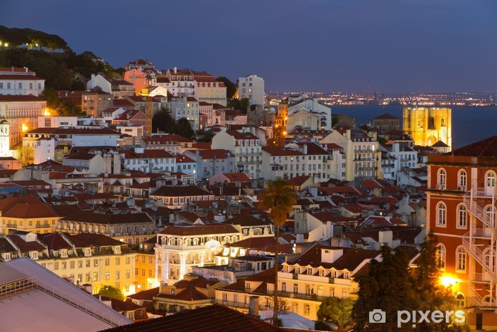 Lisbon old town at night, Portugal Pixerstick Sticker - Time