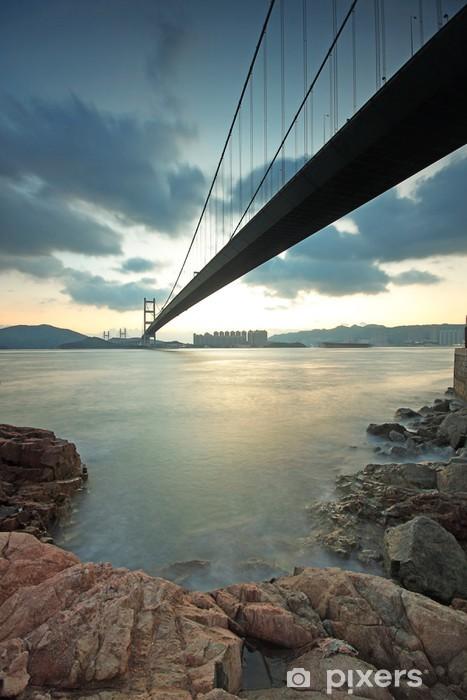 Vinyl-Fototapete Tsing Ma Bridge Sonnenuntergang, Hongkong - Asiatische Städte