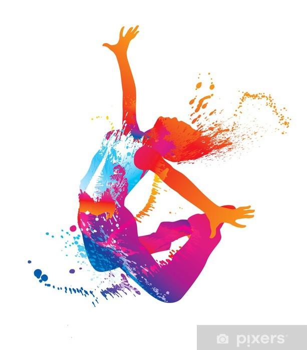 Fototapet av Vinyl Den dansande flicka med färgglada prickar och stänk på vit - Destinationer