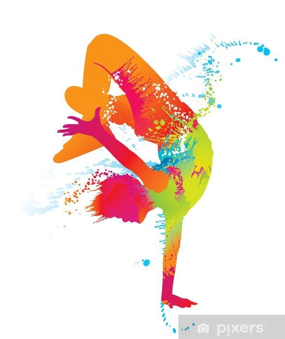 Pixerstick Aufkleber Die tanzenden Jungen mit bunten Flecken und Spritzern. Vektor - Themen